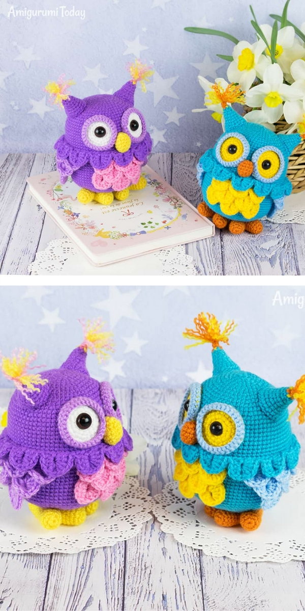 Free Crochet Pattern: Cute Amigurumi Owls Colorful