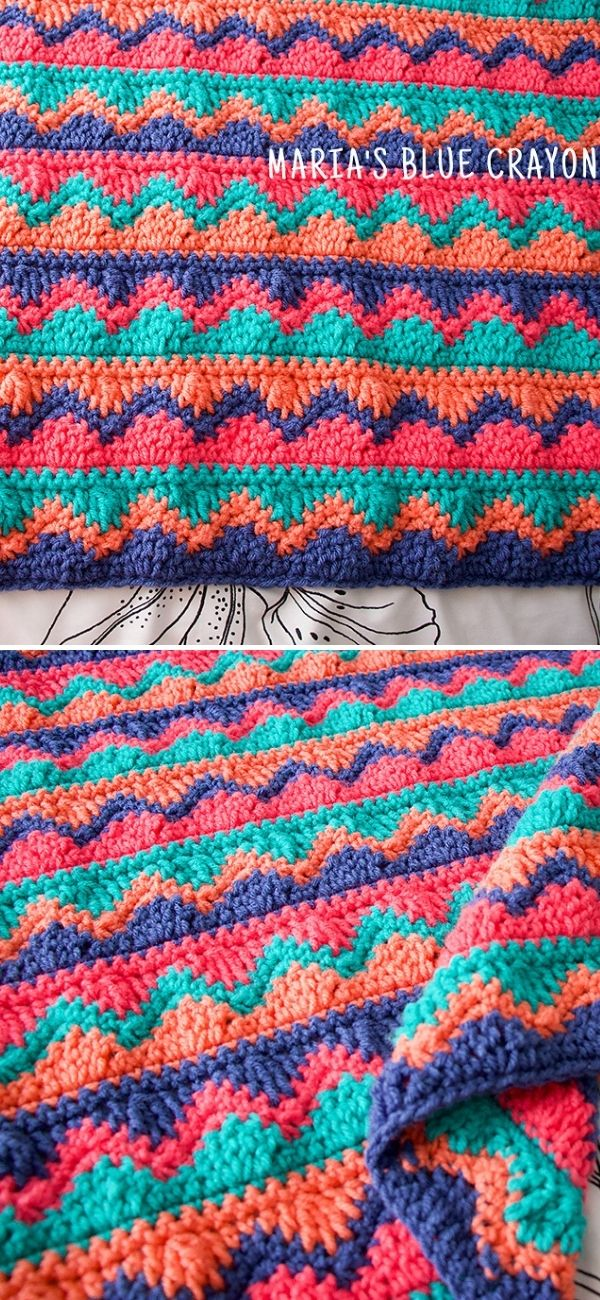 Chevron And Waves Blanket