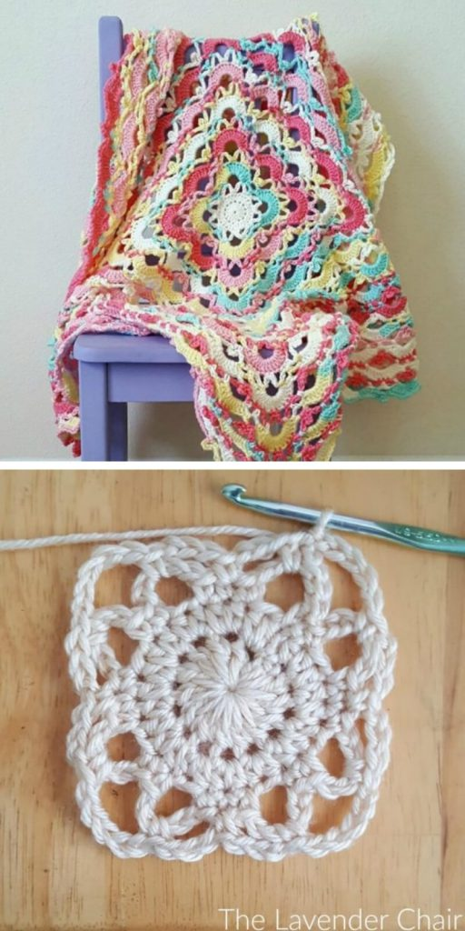 Gemstone Lace Blanket Free Crochet Pattern