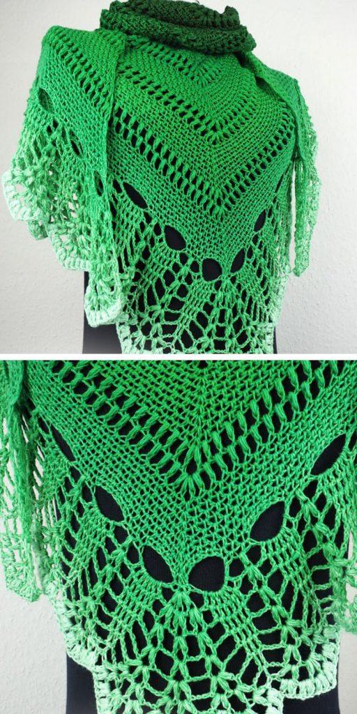 Green Shawl Free Crochet Pattern