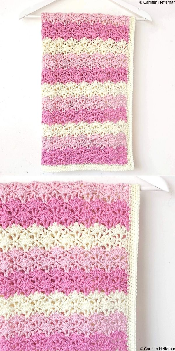 Lace Fan Stitch Baby Blanket Free Crochet Pattern