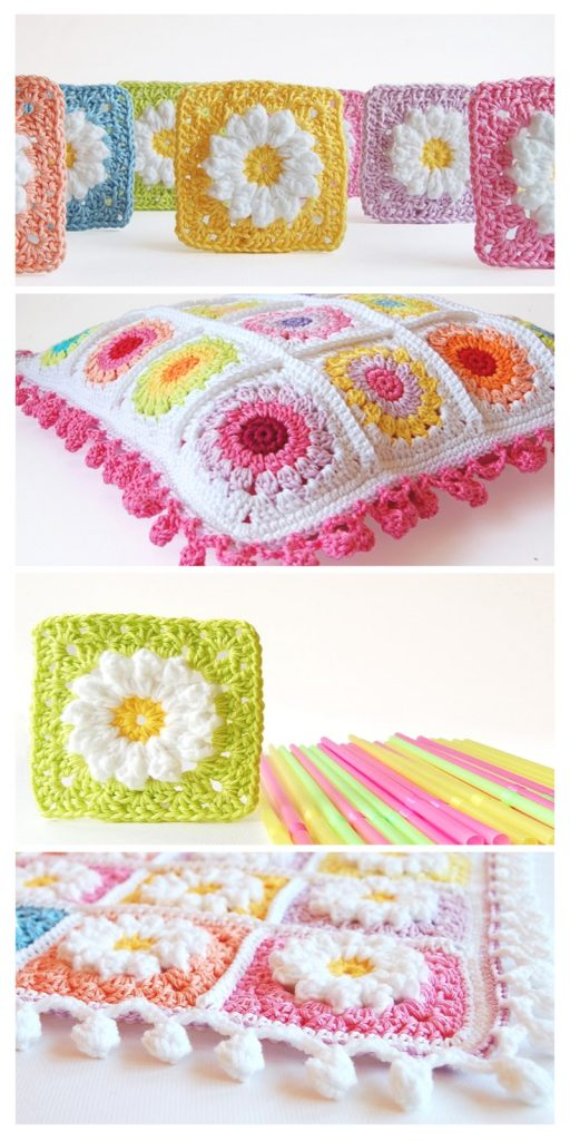 Rosie Posie Pillow Crochet Pattern