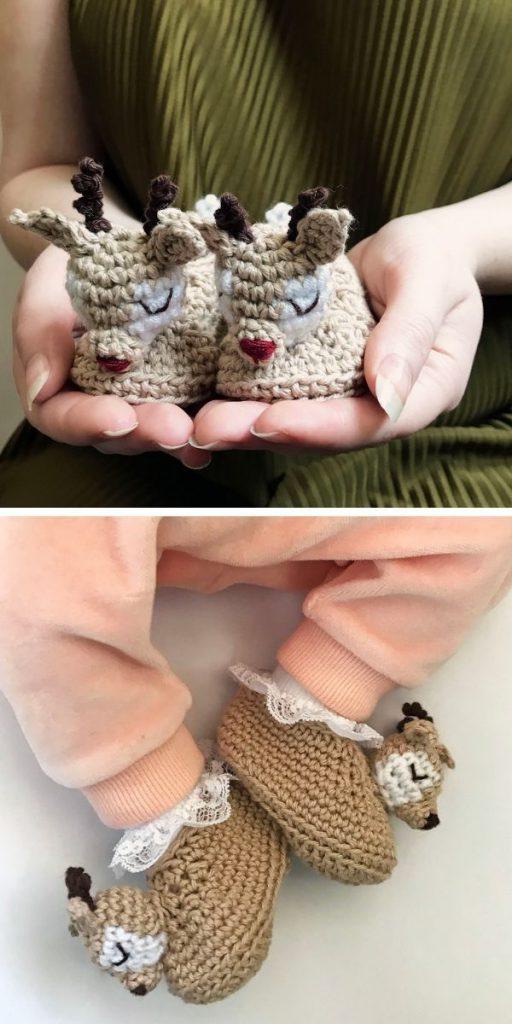 Sleepy Reindeer Baby Booties Free Crochet Pattern