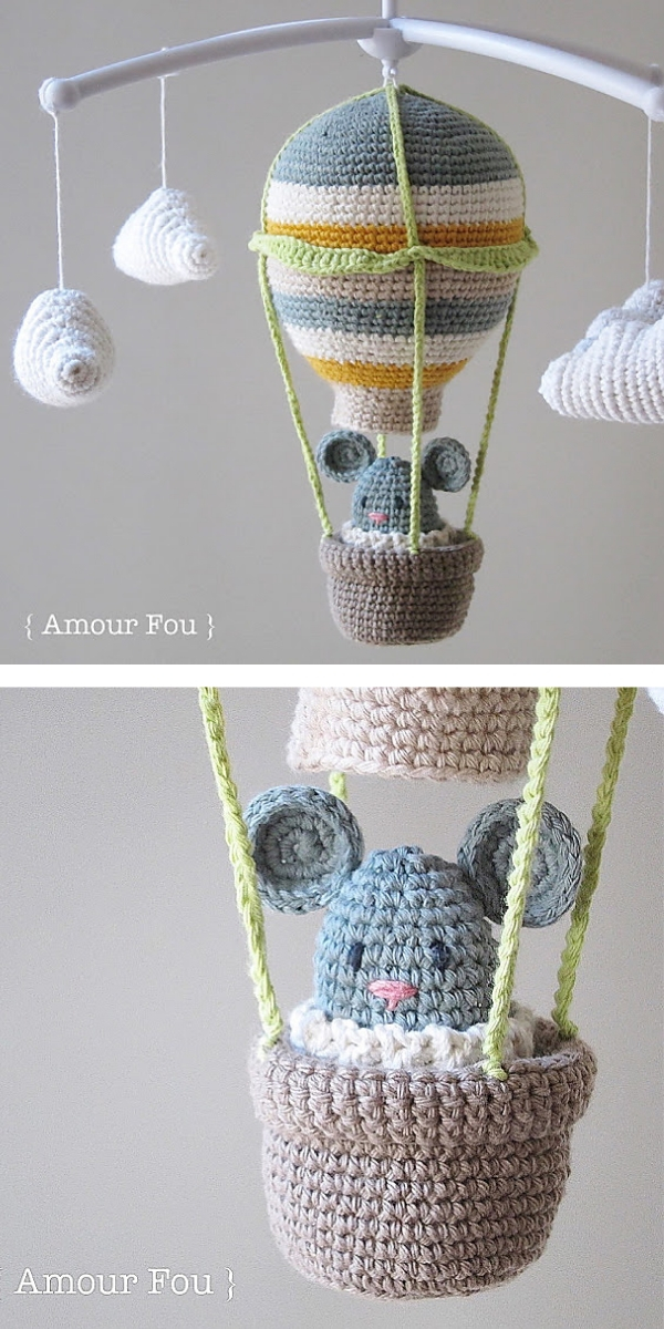 Hot Air Balloon Baby Mobile Free Crochet Pattern