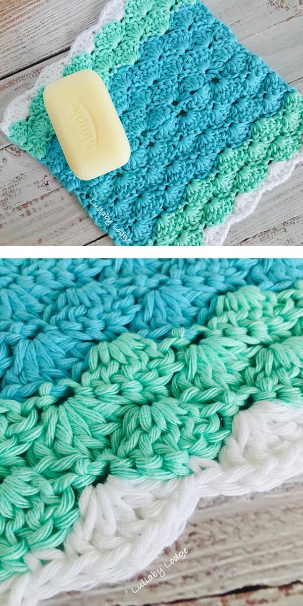 She Sells Sea Shells Washcloth free crochet pattern