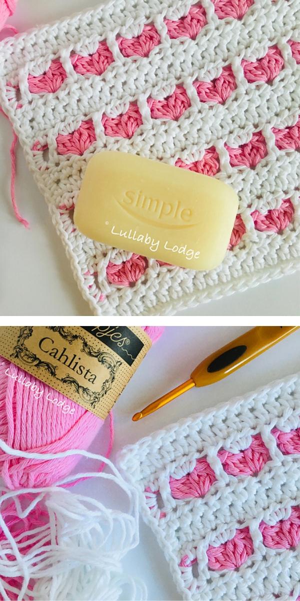 Sweetheart Washcloth free crochet pattern