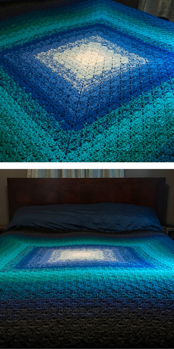 Free Crochet Pattern: Beautiful Shells Blue Blanket