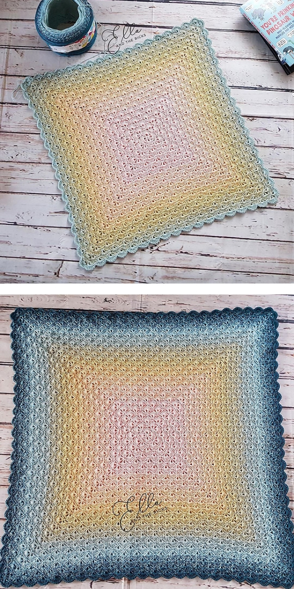 Free Crochet Pattern: Beautiful Shells Ombre Blanket
