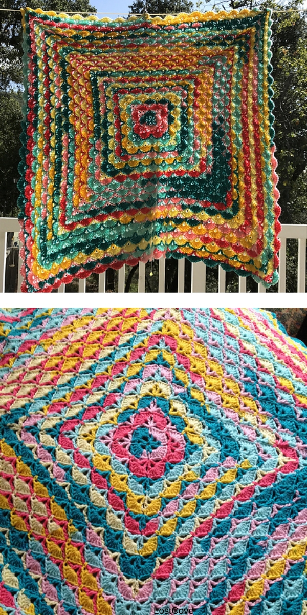 Free Crochet Pattern: Beautiful Shells Rainbow Blanket