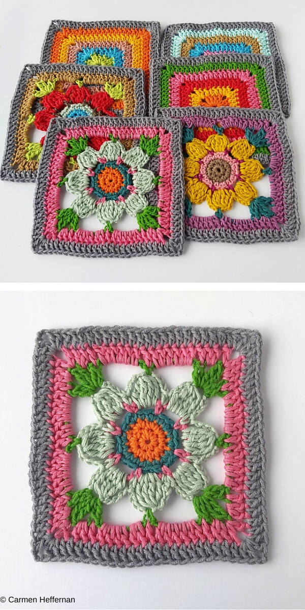 Forget Me Not Square free crochet pattern