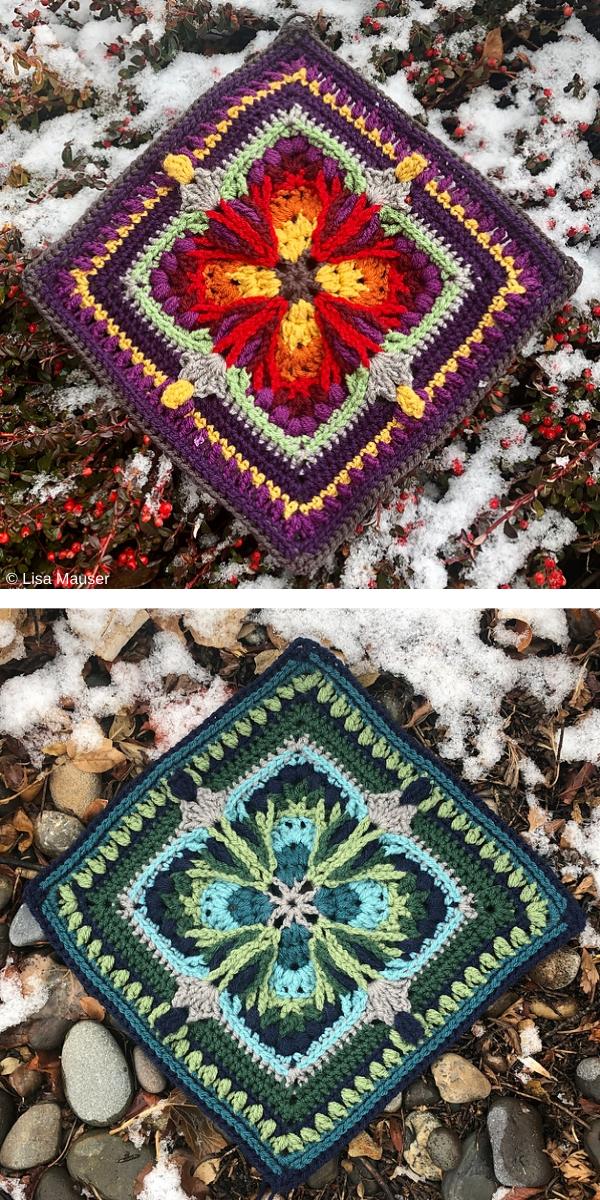 "Lady of the Lake 12"" Square free crochet pattern"