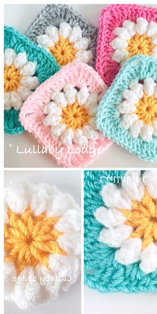 ditsDaisy Granny Square Free Crochet Pattern