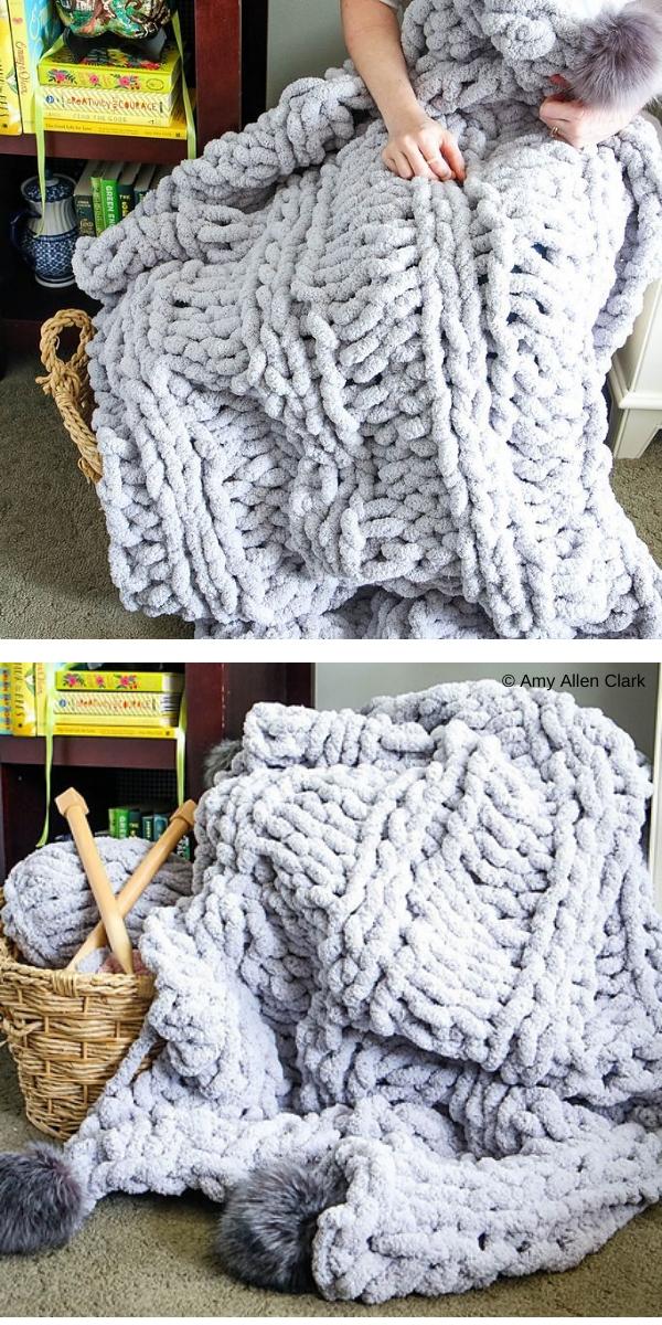 light blue knitte blanket in the room