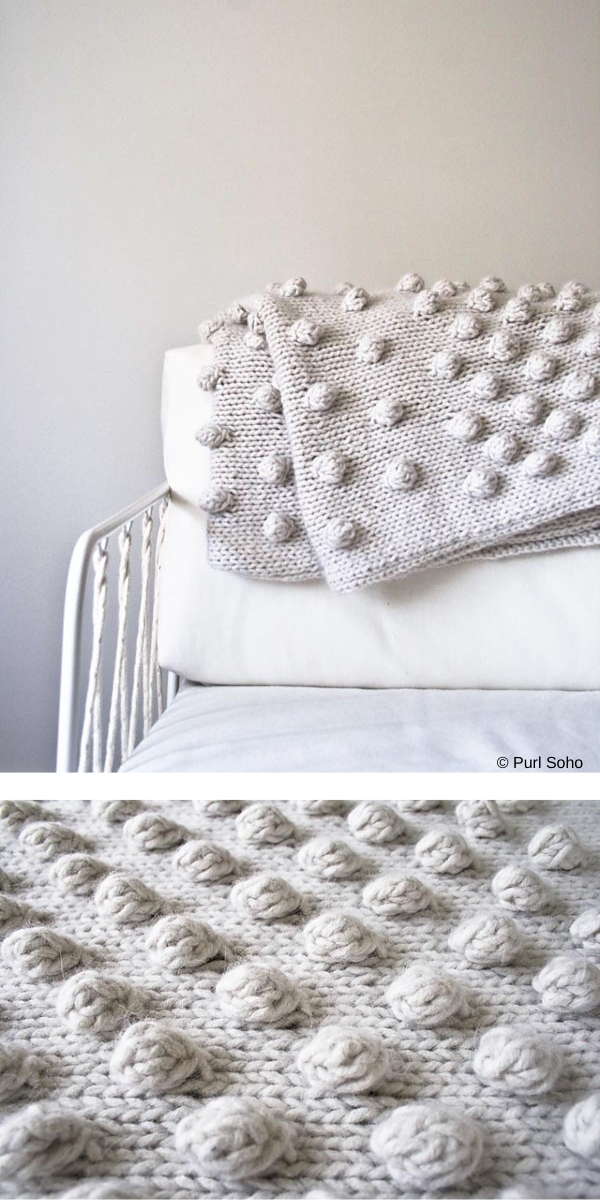 white knitted blanket with bobbles