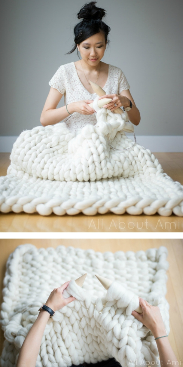 women with white big knitted blanket