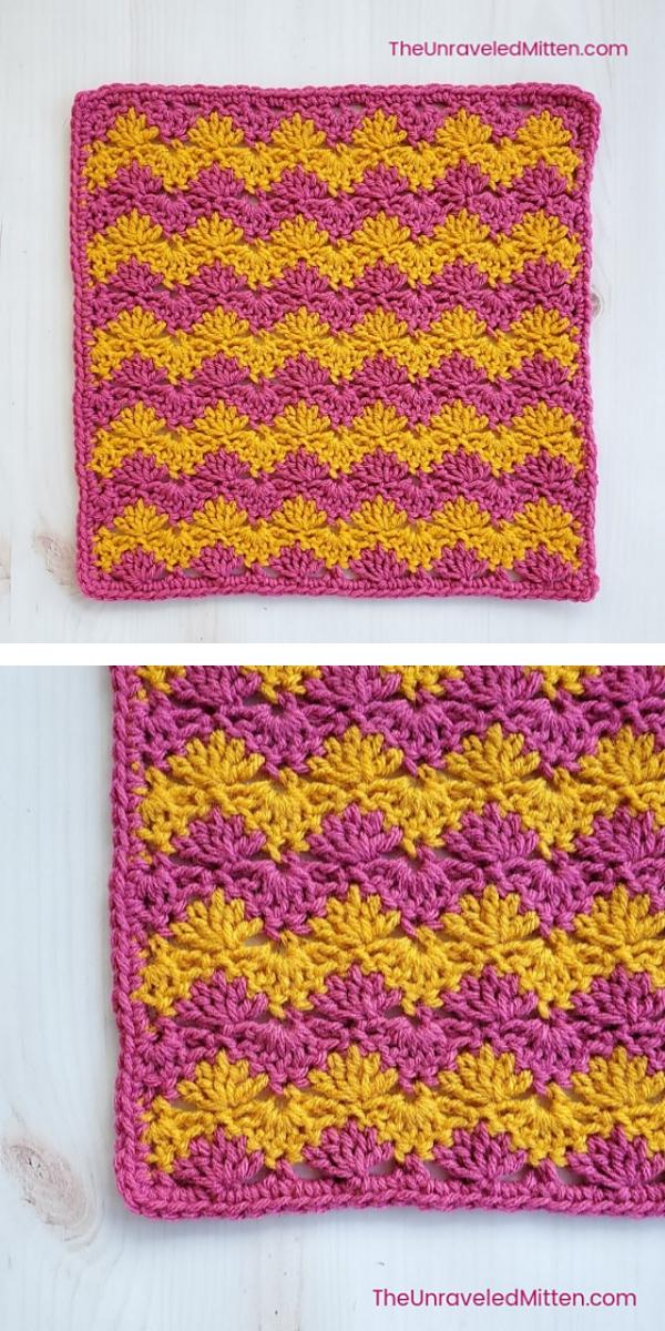 Interlocking Shell Square Free Crochet Pattern