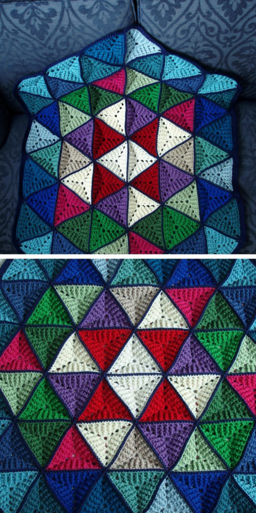 Technicolor Triangles Blanket Free Crochet Pattern