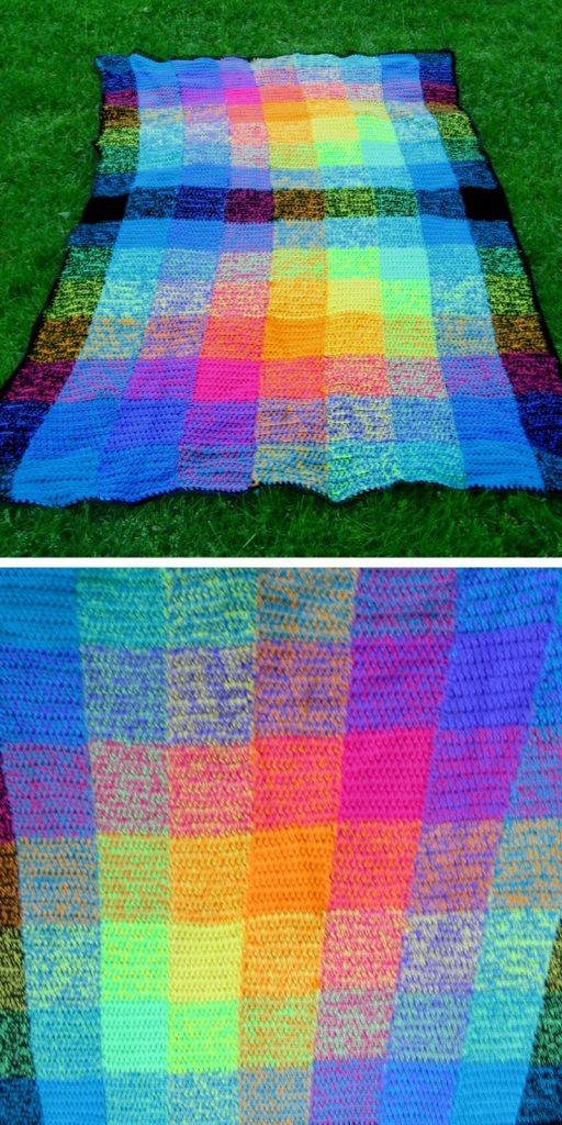 Technicolor TTechnicolor Squares Blanket Free Crochet Pattern