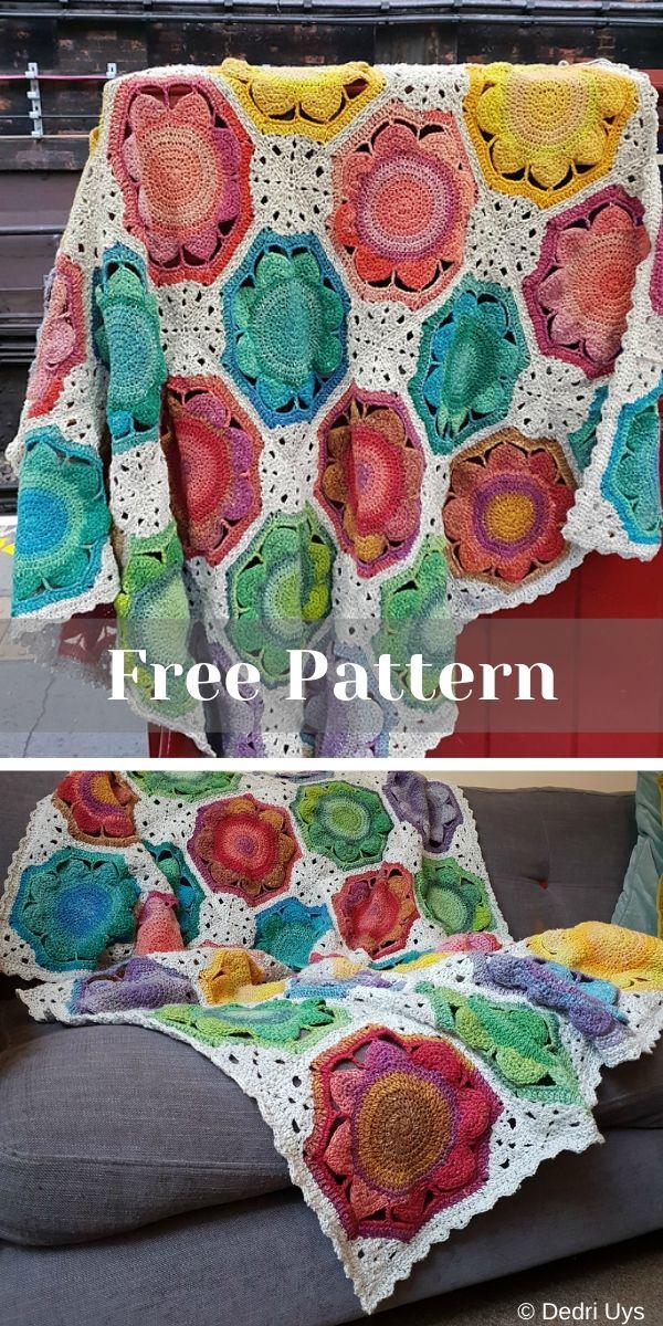 Free Crochet Pattern: Lynda Flower Blanket