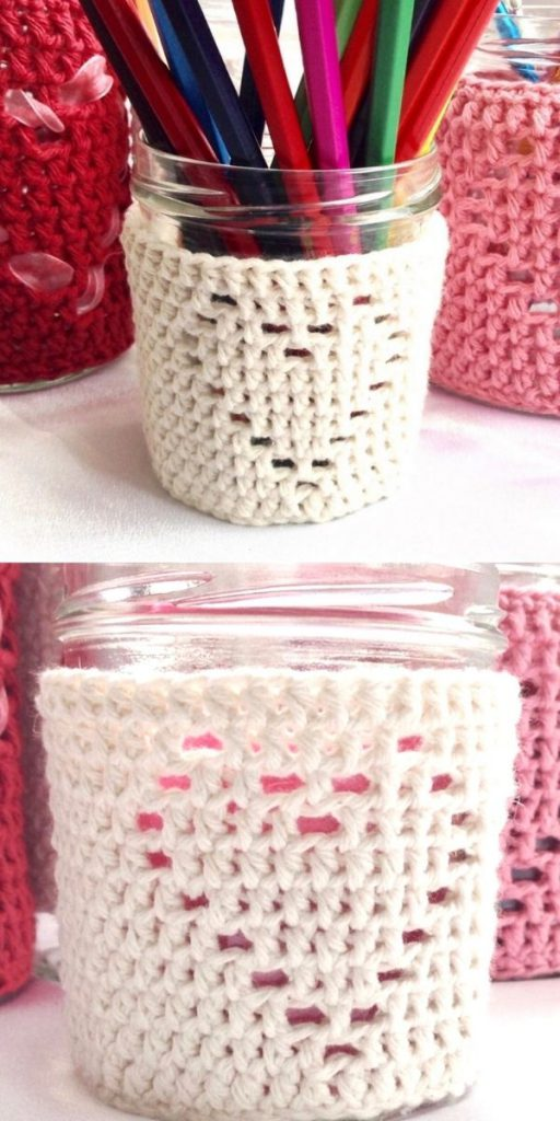Heart Jar Cozy Candle Cover