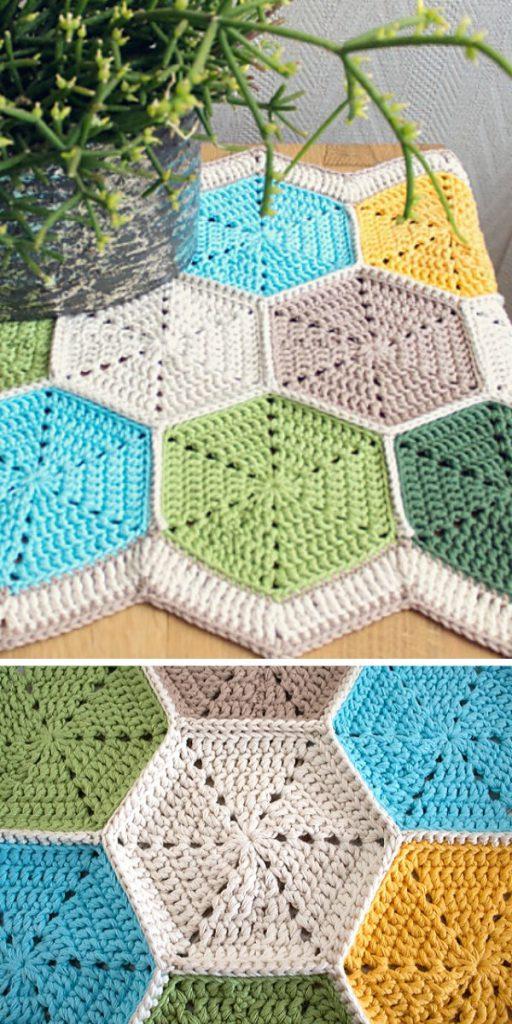 Hexagon Table Runner Free Crochet Pattern
