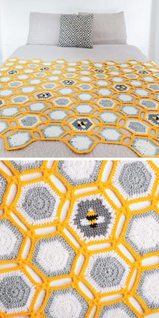Hexie Bee Throw Free Crochet Pattern