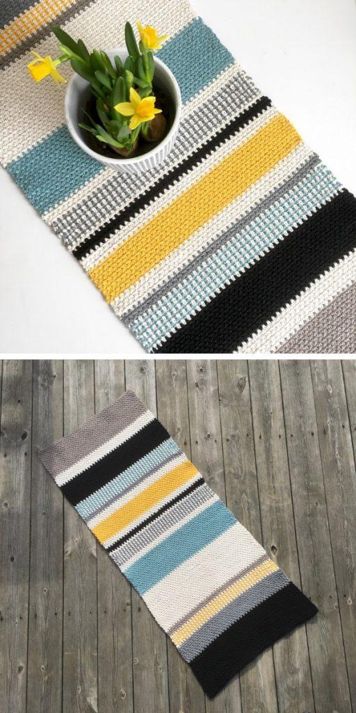 Moss Stitch Table Runner Free Crochet Pattern