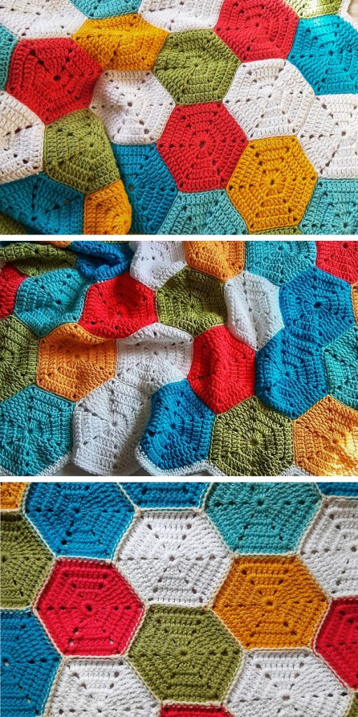 Rainbow of Hexagons Blanket Free Crochet Pattern