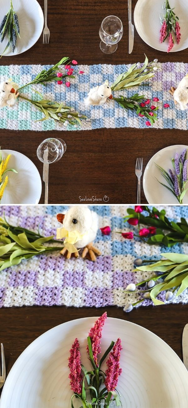 Spring Checkered Table Runner