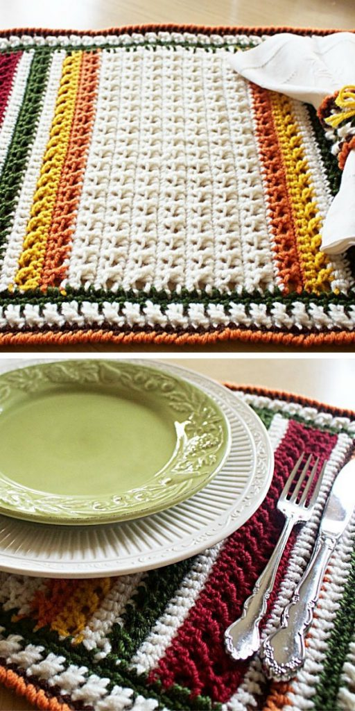 X Stitch Harvest Placemat & Napkin Ring Free Crochet Pattern