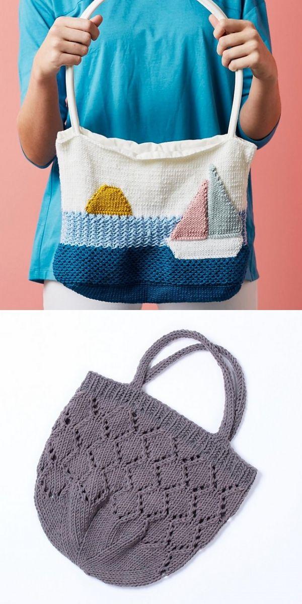 Free Knitting Pattern: Amazing Beach Bags