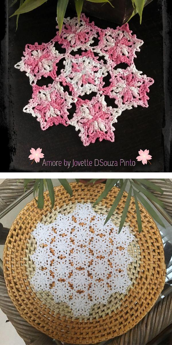 free crochet pattern: Flower Burst Motif