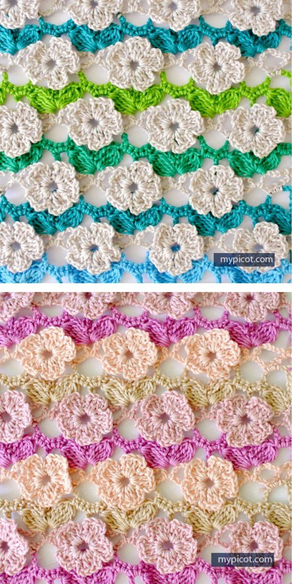 free crochet pattern: flower stitch