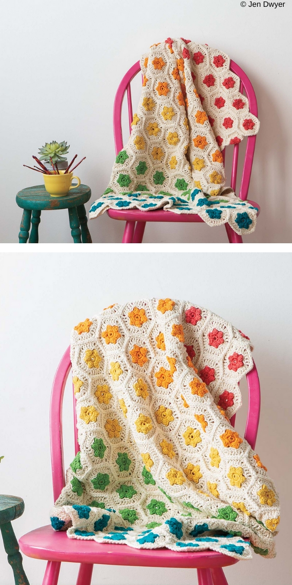 Rainbow Garden Throw Free Crochet Pattern