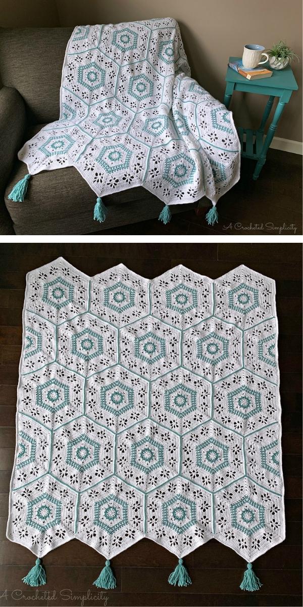 Succulent Spring Hexagon Afghan Free Crochet Pattern