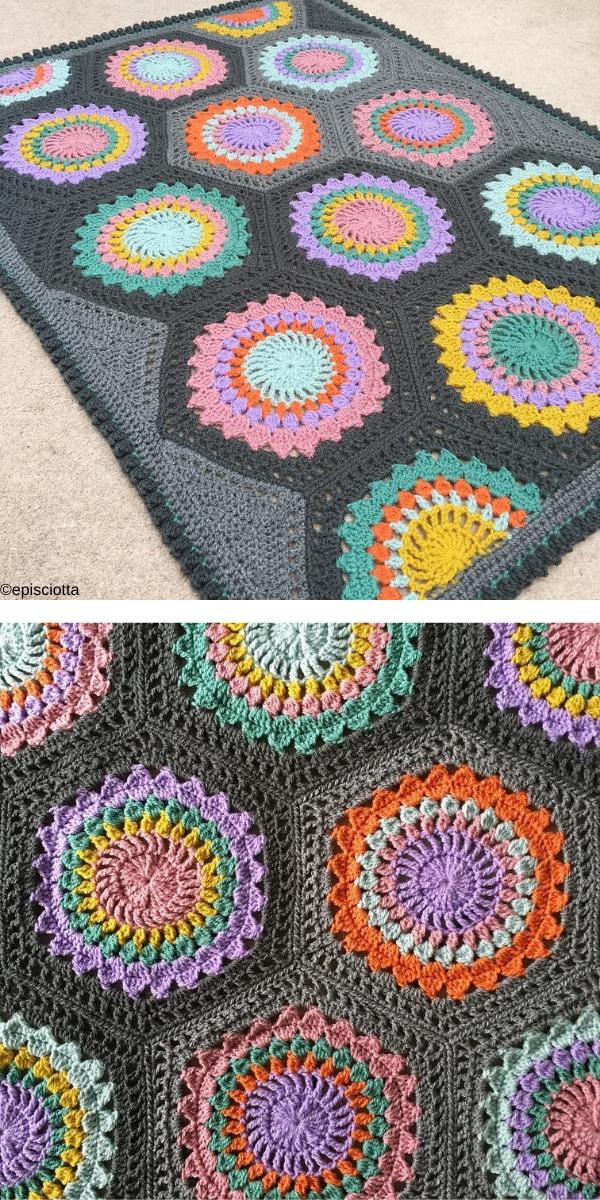 Hexagon Burst Free Crochet Pattern