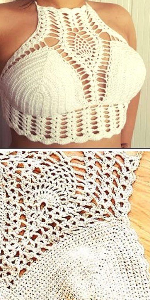 White Bralette Free Crochet Pattern