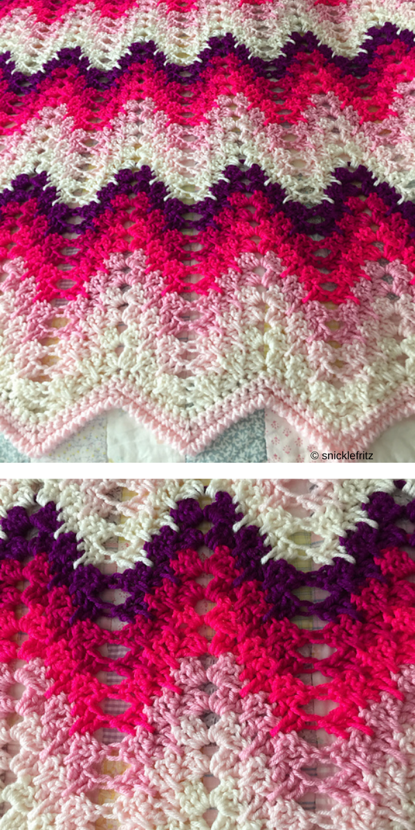 Pink and purple ripple blanket