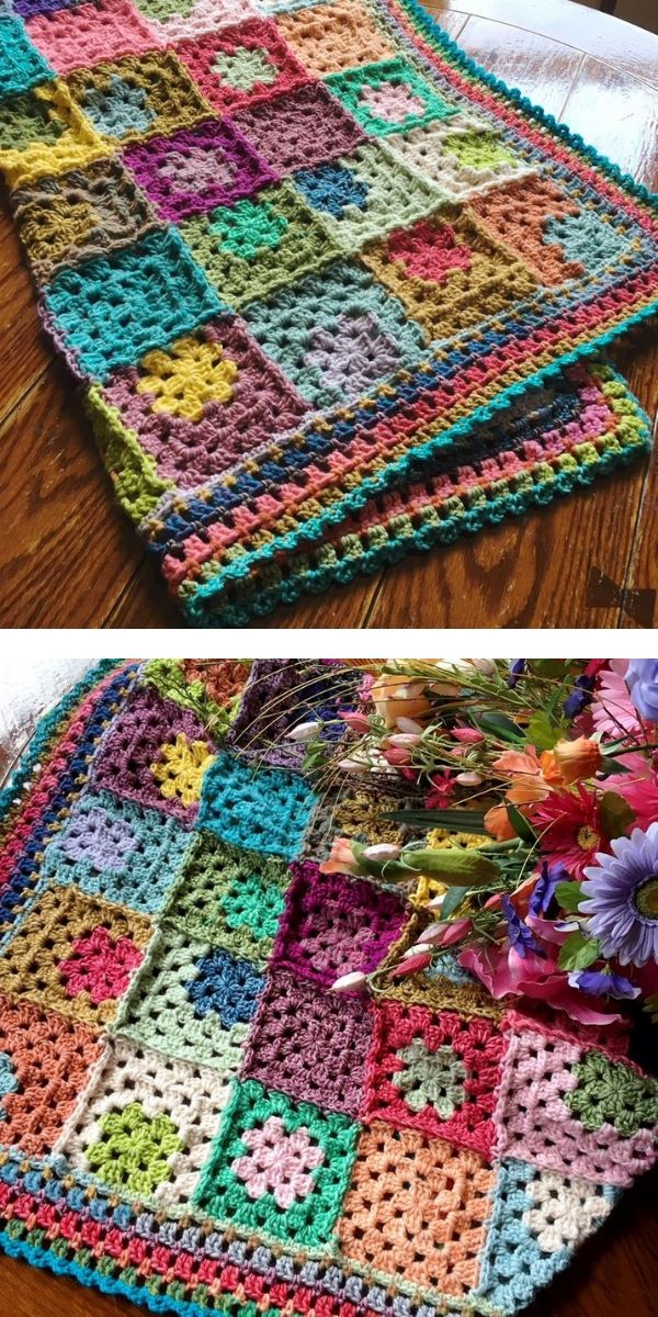free crochet pattern: Amazing Flowers Granny Square