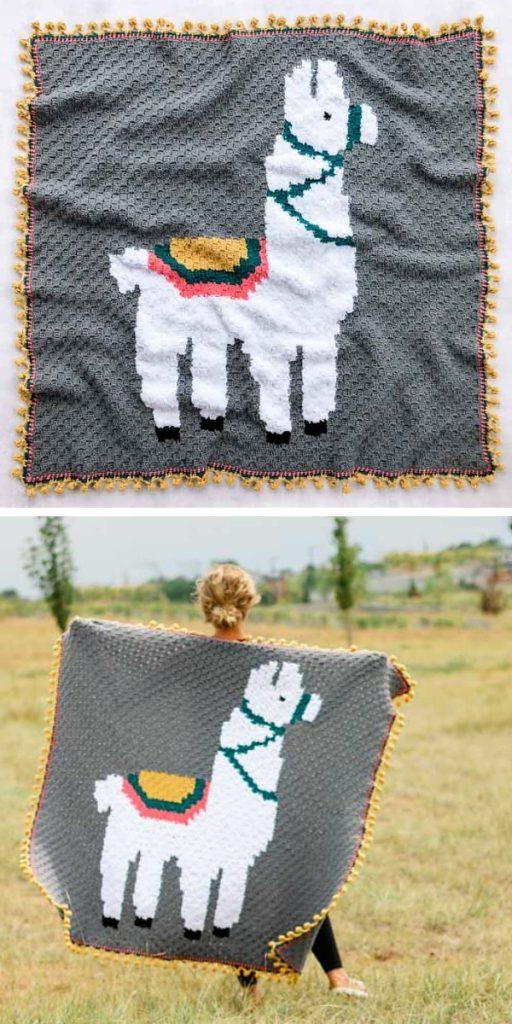 Alpaca Love C2C Blanket Free Crochet Pattern