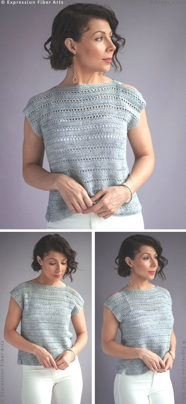 Cirrus Open Shoulder Tee Free Crochet Pattern