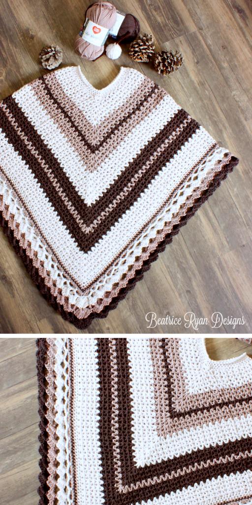 Coffee & Cream Poncho Free Crochet Pattern