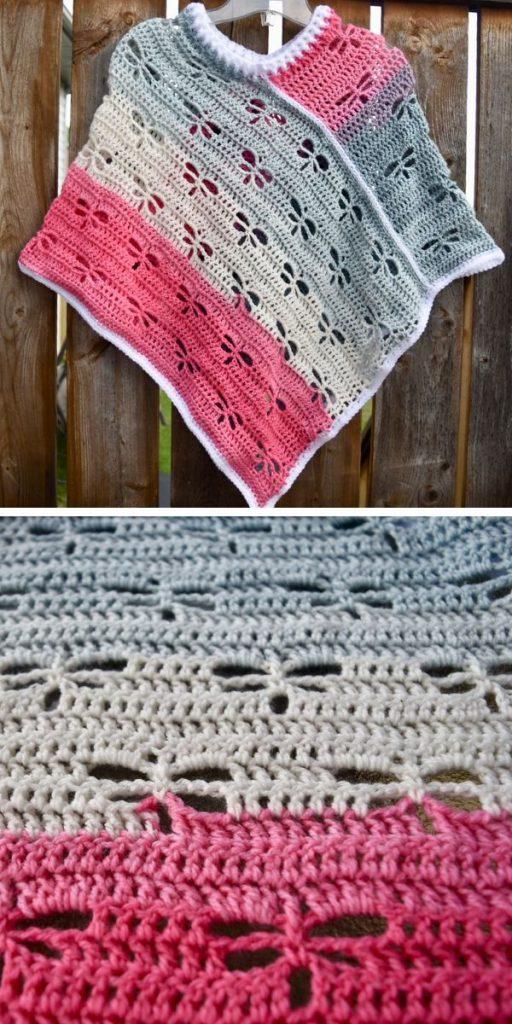 Dragonfly poncho Free Crochet Pattern