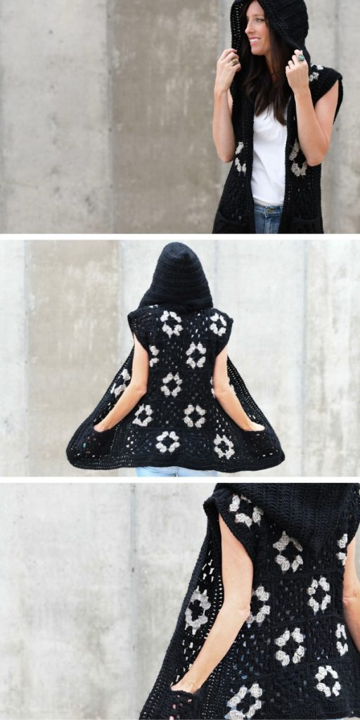 granny square hooded outfit
