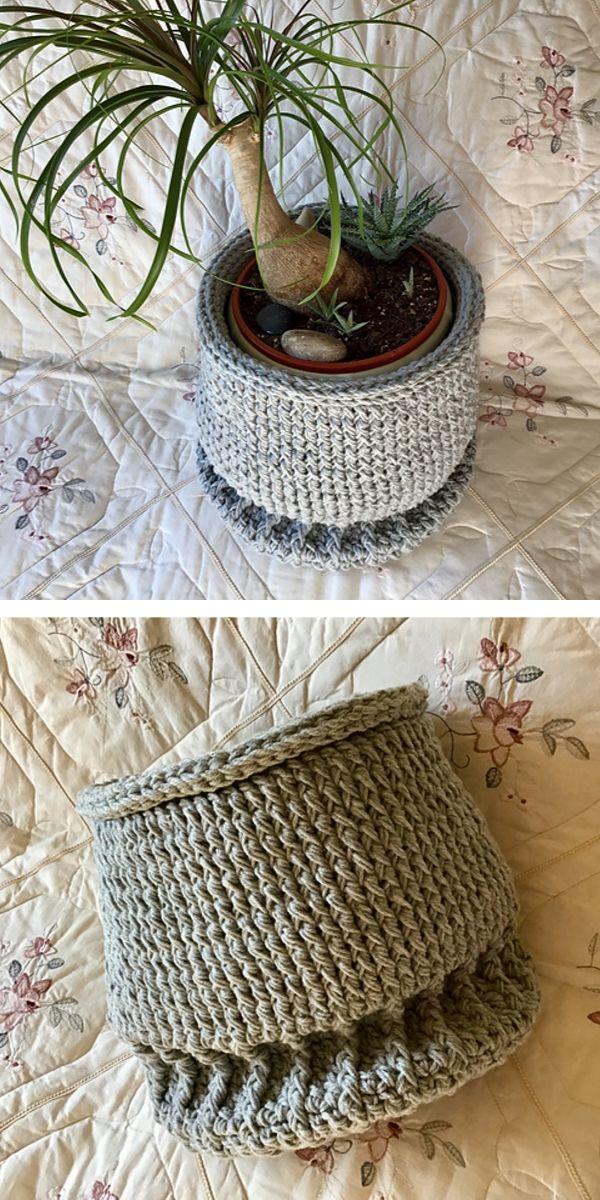 Crochet Pattern Cosy Flowerpot Case