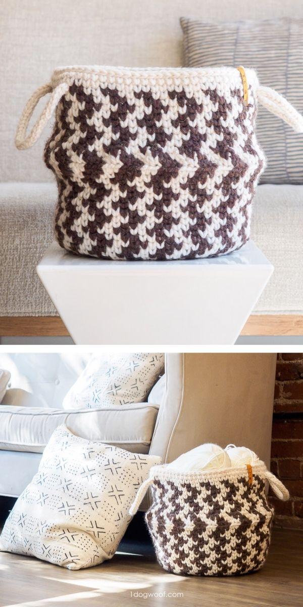 Free Crochet Patterns Funny Zig Zag Basket