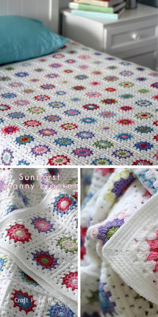 Sunburst Granny Square Blanket Crochet Pattern