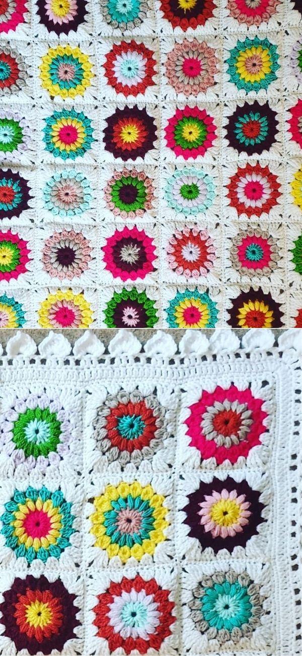 Sunburst Granny Square Blanket 2