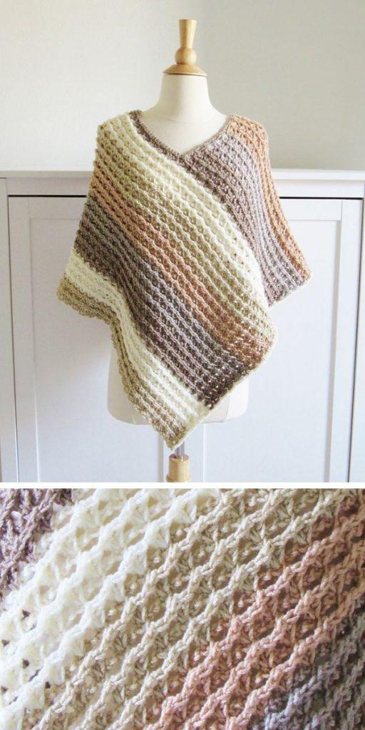 Sunset Poncho Free Crochet Pattern