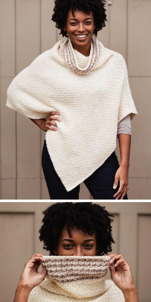 Hot Cocoa Poncho Free Crochet Pattern
